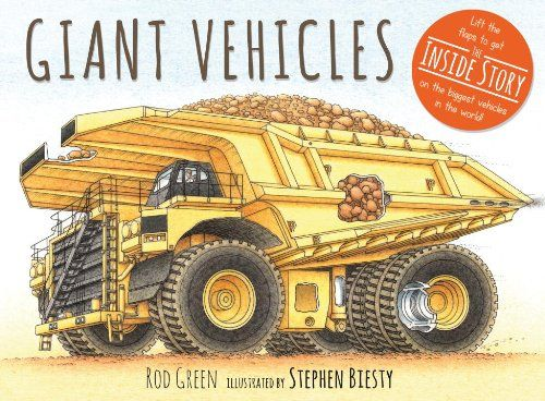 I thought this was just another story book about construction vehicles.  Instead, I found a cool fact book about all types of . . . giant vehicles.  This book promises to deliver the inside story on the biggest vehicles in the world and it delivers!  And, I am not just talking about the kinds of vehicles.  My favorite part is lifting the flaps to read the description about the how the vehicles work.  Boys will like this book because some of the vehicles have interesting special abilities…
