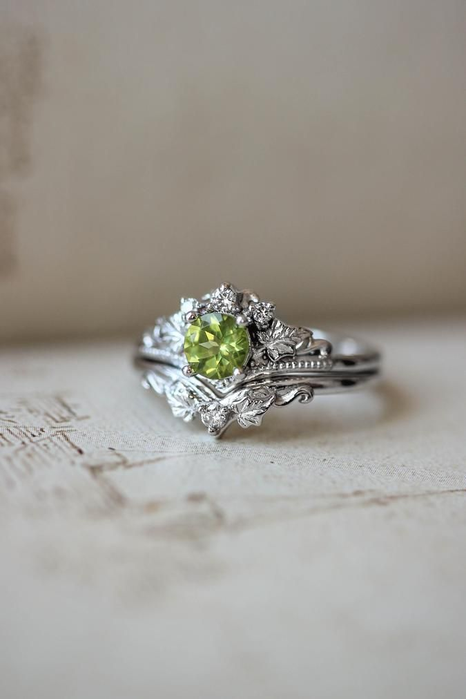 Peridot Engagement Ring With Diamonds Bridal Ring Set In 2020 Peridot Engagement Rings Nature Inspired Jewelry Custom Wedding Jewelry