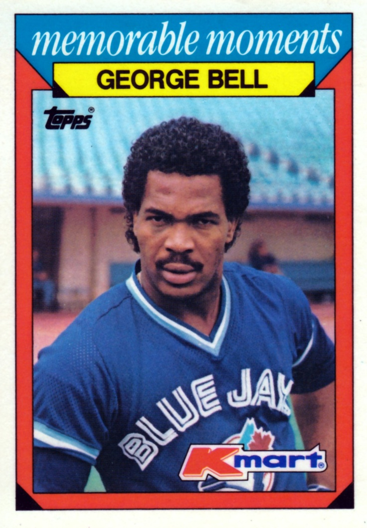 Random Baseball Card #1079: commemoration of Toronto Blue Jays outfielder George Bell hitting home runs completely out of Chicago's Comiskey Park in consecutive games in 1985. (K-Mart/Topps card, 1986.)