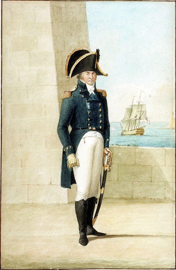 Captain (?Alexander Ball) wearing uniform of 1795-1812. One of four painted in Malta. Shows captain's undress coat, epaulettes, cocked hat, white waistcoat, white pantaloons, black hessian boots, sword, sword-belt, white stock and yellow gloves