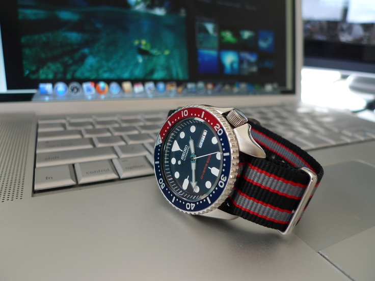 Seiko Skx009 With Blk Red Gry Nato Watch This Space Pinterest