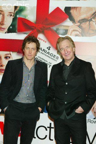 "Alan Rickman Love Actually   Alan Rickman & Hugh Grant at the ""Love Actually"" Premier in Paris"
