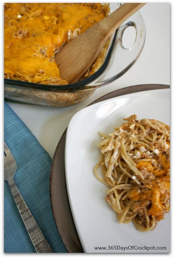 BBQ Chicken Spaghetti...creamy, cheesy and so perfect for a family dinner.  #chicken #dinner #recipes #slowcooker