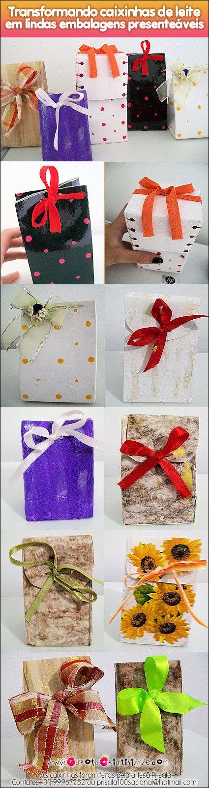 Reciclagem com caixa de leite: confira como fazer lindas embalagens de presente com caixinhas de leite! Não perca esta ideia de reciclagem criativa!
