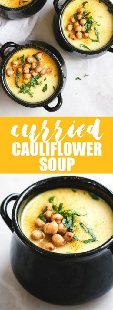 This curried coconut cauliflower soup recipe is a healthy vegan soup that is creamy and loaded with curry flavour!