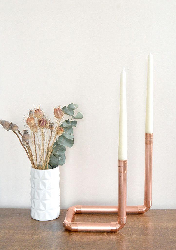 Copper Pipe Due Centerpiece Candle Holder