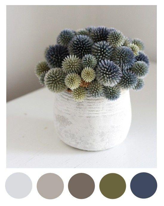 Spring thistle color palette (grey, beige, green, navy) - Living room pallet
