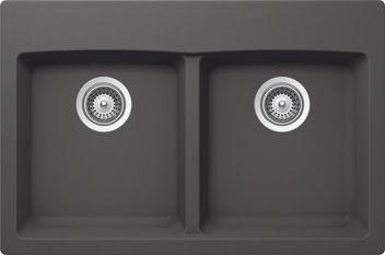 GB Kit Sink 2 Bowls Dual Mnt Basalt