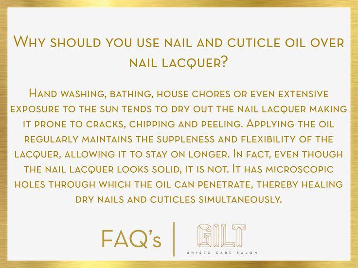 #GILT #Salon #FAQ why should you use nail and #cuticle #oil over #nail #lacquer ? #nailoil #cuticleoil on #nailpolish #nailcare #healthy #nails make good #notd #nailoftheday #NailWeekSpecial