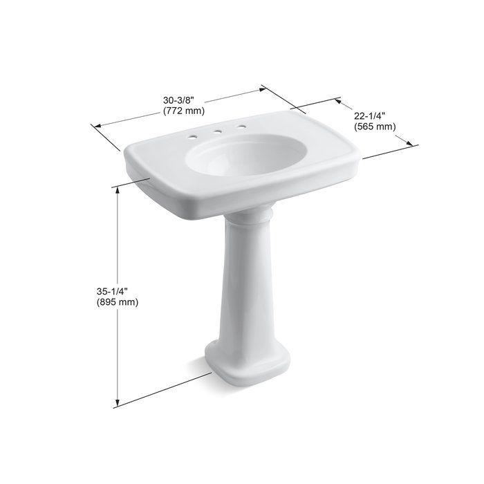 Bancroft Ceramic 31 Pedestal Bathroom Sink With Overflow