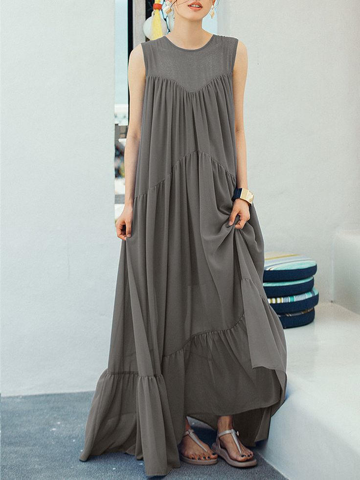 Patchwork Pure Color Pleated Sleeveless Vintage Maxi Dresses