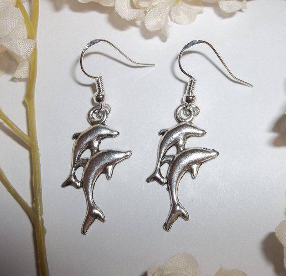 925 Silver ear wires Dolphin earrings ocean jewellery
