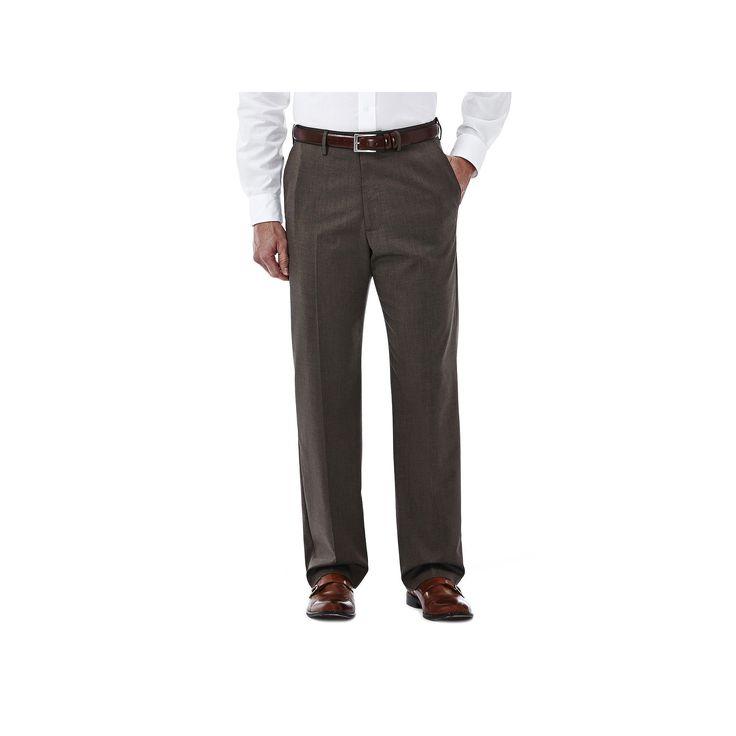 Men's Haggar Premium Stretch Dress Pants, Size: 44X32, Med Brown