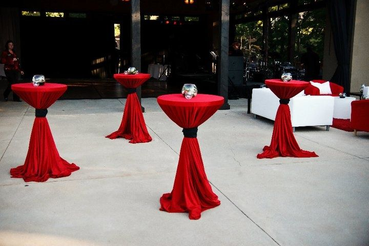 tied linens bistro tables red - Google Search