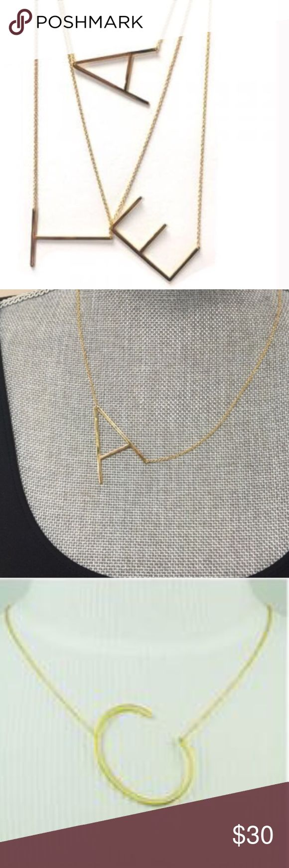 "Large Sideways Initial Necklace, NWT & Boxed Each initial is approximately 1 1/2"" X 3/4"" wide and are a polished gold plated finish. Very modern and sophisticated block letter initial. 18""-20"" adjustable.chain. Price is firm. ZokyDoky Jewelry Necklaces"