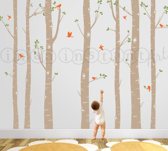 Birch Tree Decal With Flying Birds Forest Trees Wall Vinyl For Nursery Living Room Kids Or Childrens 009