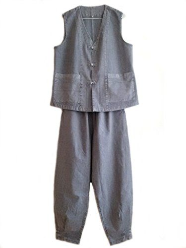 Altair Men Women Cotton 100% Vest Pants Buddhist Zen Meditation Clothing, Uniform, Temple Clothes (brown, XL)