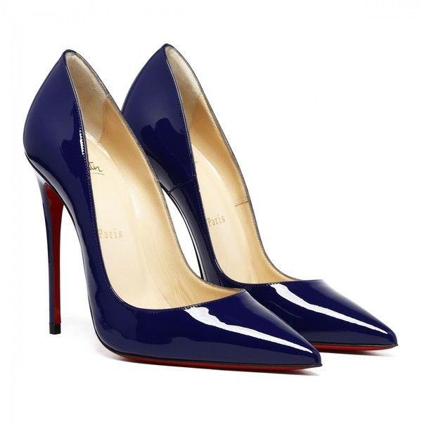 So Kate 120 Blue Patent pumps (€515) found on Polyvore featuring women's fashion, shoes, pumps, heels, patent shoes, blue patent pumps, blue shoes, heel pump and blue color shoes