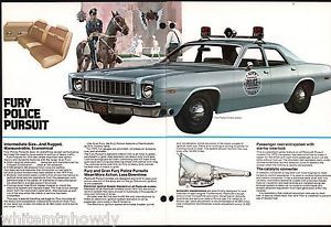 1975 Plymouth Gran Fury Pursuit Police Cruiser Car Pull Out Brochure Ad | eBay