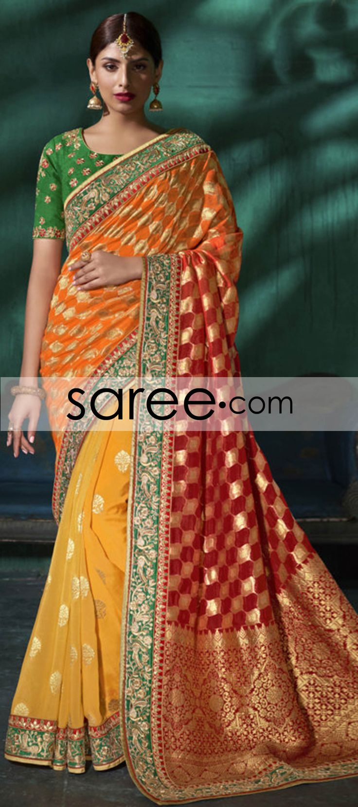 Orange and Yellow Ombre Viscose Saree With Weaving