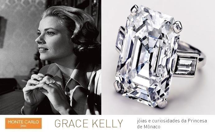 """graceleg3 Última aparição da princesa no filme """"High Society"""" (Charles Walters, 1956). Na foto, traz seu anel de noivado, por Cartier. Esta é uma peça feita com uma esmeralda corte diamante pesando 10,47 quilates conjunto com dois diamantes baguete."""