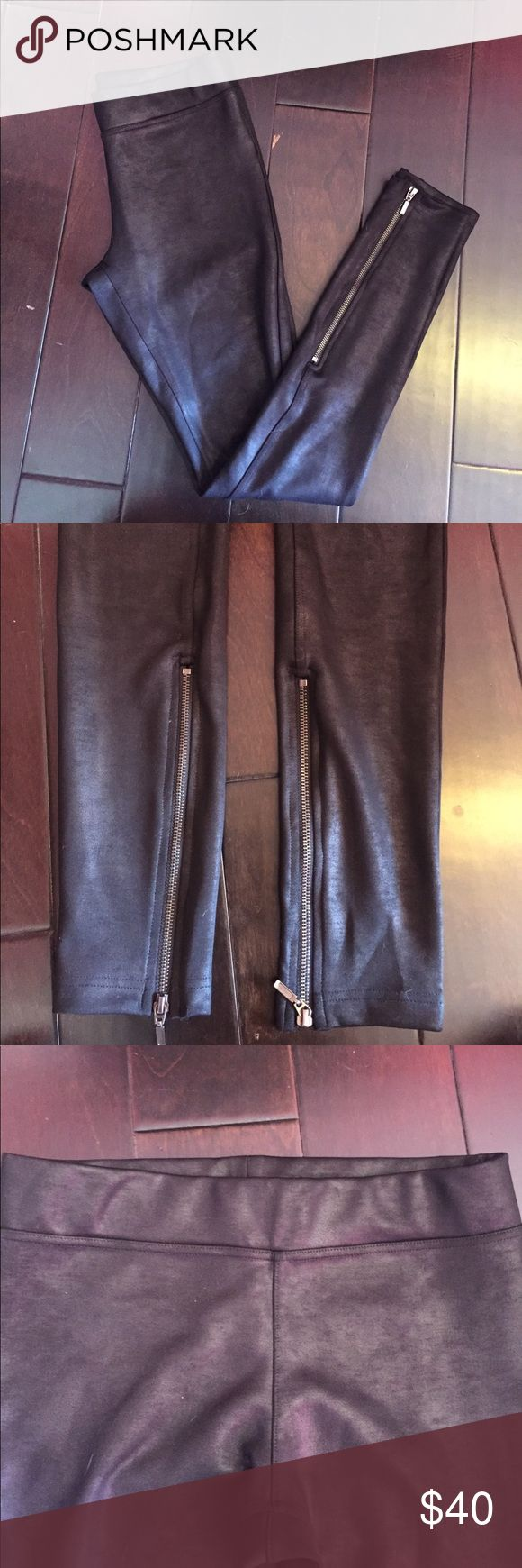 Faux leather leggings from FreePeople High waisted leggings from FreePeople. Thicker material, looks like faux leather, zippers on inside of ankle. Free People Pants Leggings