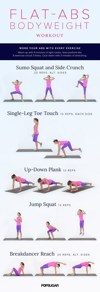 Flat-Abs Bodyweight Workout: Think beyond crunches for toning your abs and try this bodyweight workout from our No-Excuses Workout Challenge.