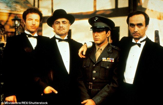 Welcome to the family: (L-R) James Caan, Marlon Brando, Al Pacino and John Cazale played members of the notorious Corleone family