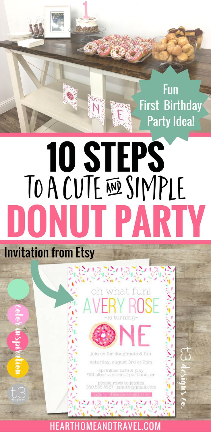 Looking for a fun and affordable way to celebrate your child's birthday? Check out these 10 steps to throwing a simple and fun donut-themed birthday party! via @hearthometravel