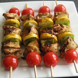 Saucy Mama's lime chipotle chicken kabobs.