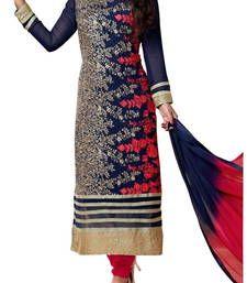 Buy Blue geourgette embroidered unstitched salwar with dupatta party-wear-salwar-kameez online