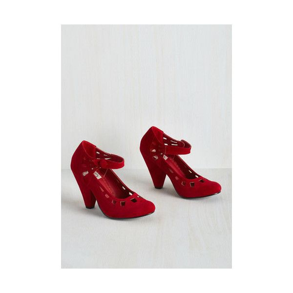 Bettie Page Darling Gallop Towards Graceful Heel ($83) ❤ liked on Polyvore featuring shoes, pumps, ankle strap heel, heels, red, red ankle strap pumps, red ankle strap shoes, polish shoes, red pumps and round toe pumps