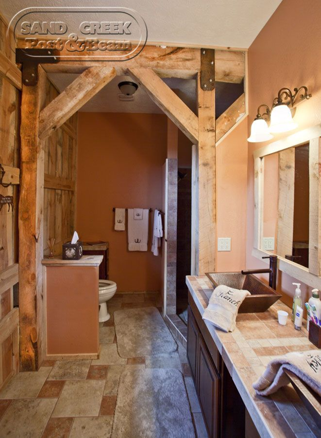 Bathroom With Wood Post Amp Beams Showing Sand Creek Post
