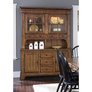 Treasures Rustic Oak Buffet and Hutch | Overstock.com Shopping - The Best Deals on Buffets