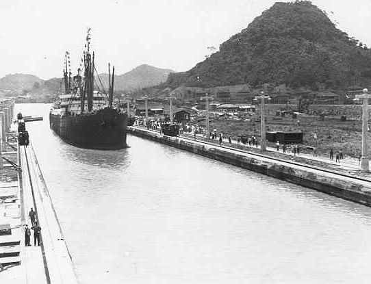 USS Ancon first OFFICIAL NAVIGATION of the Panama Canal - This Day in History: Aug 15, 1914: Panama Canal open to traffic