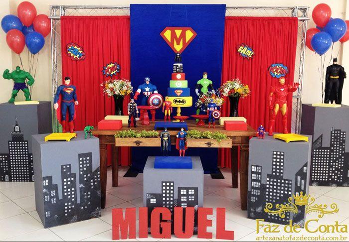 decoração super herois miguel