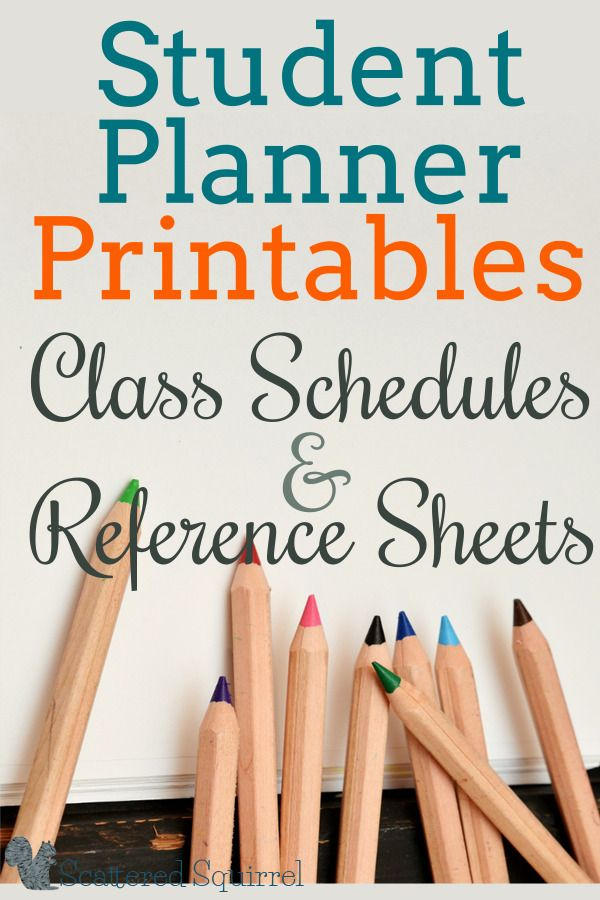 Highschool and College students have to keep track of a lot of information, not just in class but about their classes as well. These class schedule and reference sheets printables will make a great addition to a student planner.