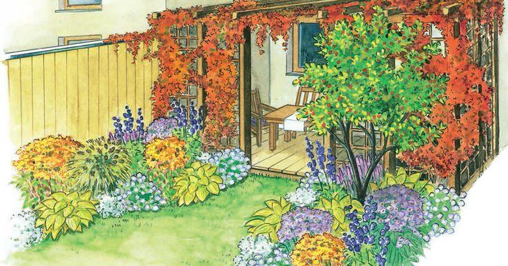 Wilder Wein sorgt im Herbst mit orangerotem Laub für leuchtende Wände. Bei dieser Gestaltungsidee erobert er eine Pergola und schenkt der Terrasse ein lebendiges Dach.