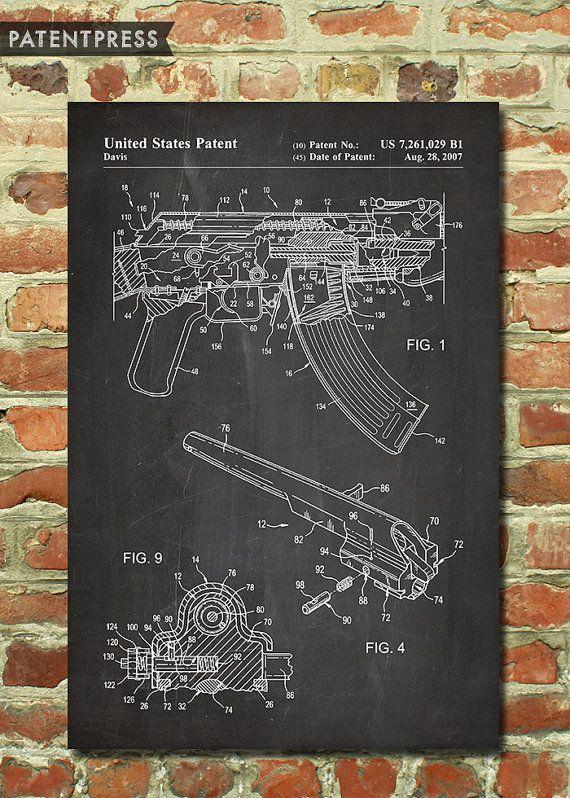AK-47 Rifle Poster Gun Decor, Gun Print, Men Gun Gift for Boyfriend Gift, Gift…