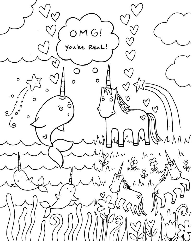 All sizes Free download Narwhal unicorn coloring book