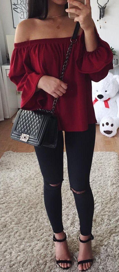 Wine off the shoulder high / black knee ripped denims / Chanel bag / selfie / Stre…