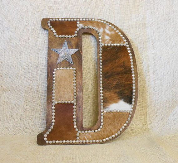 Cowhide Wall Letter D Made To Order Western Home Decor