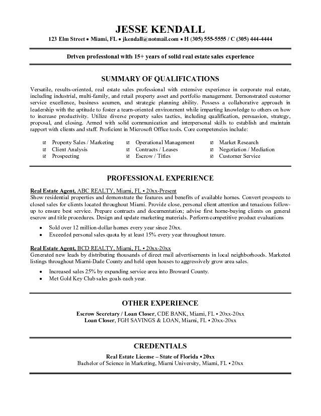 Real Estate Agent Resume Example Tammys Resume Manager