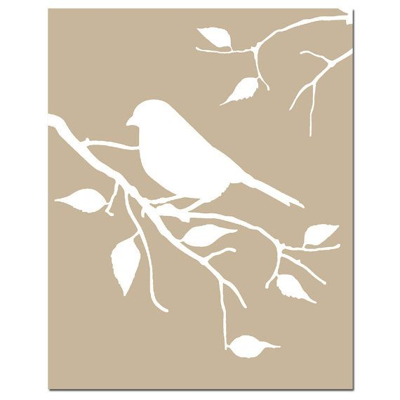Bird on a Twig 8x10 Silhouette Print Taupe and White by Tessyla, $20.00