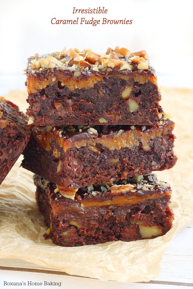 Gooey and ridiculously rich, these caramel fudge brownies feature a layer of oozing caramel baked on top of a decadent chocolate chip brownies. Resistance is pointless.