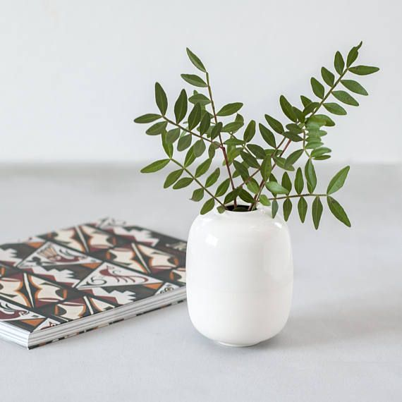 Pure White Porcelain Bud Vase Can Serve As A Subtle Decor Element In Interior Of Any Style Pair It With Som White Ceramic Vases White Vases Scandinavian Decor