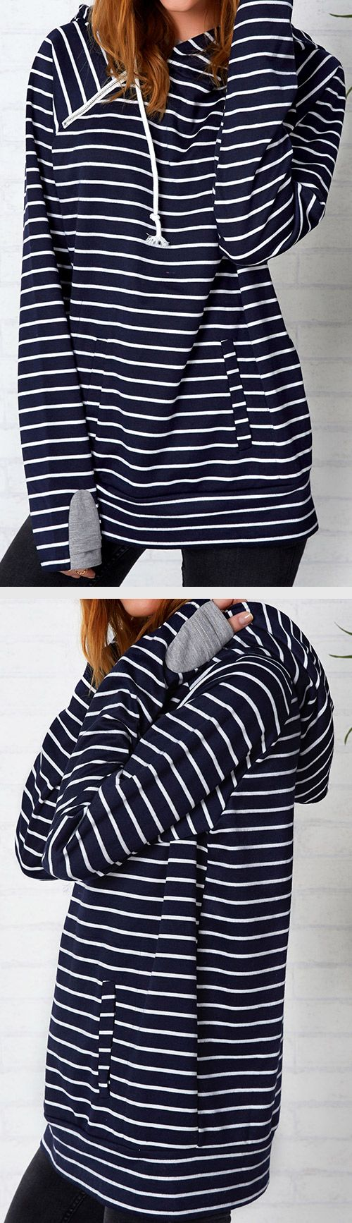 Free shipping+easy return! This casually cute top is perfect for the fall transition. Can Not Miss it, $34.99! It has double fabric hood & Irregular zipper at front. Plus, the fabric is super soft and comfy!