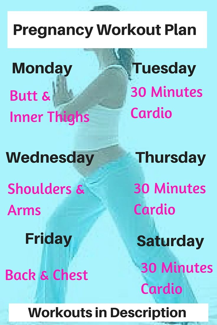 Pregnancy Workout Plan:  Butt & Thighs:  20 Reps Plie Squat, 20 reps Stationary Lunges x's 3.  Shoulders & Arms:  20 Shoulder Presses, 20 DB Curls, 20 Dips x's 3.  Back & Chest:  20 DB Rows, 20 Wall Pushups x's 3.  Cardio:  your favorite cardio machine or mild jog for 20 minutes.   More detailed Pregnancy Workouts for every trimester here:    http://michellemariefit.com/fit-mom-to-be-3/