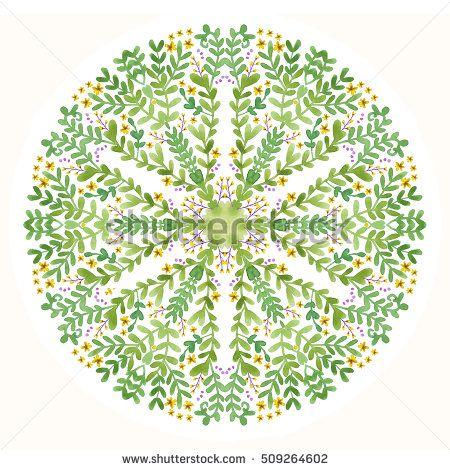 Watercolor green mandala