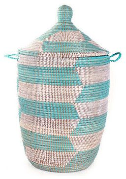 Senegalese Storage Hampers, Aqua craftsman baskets - $129